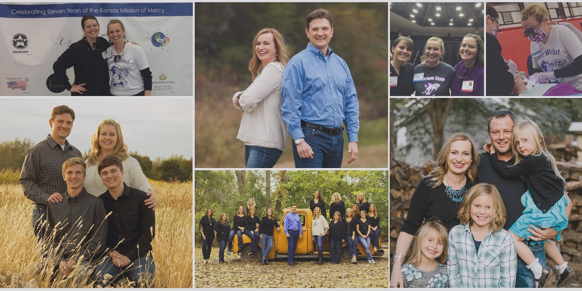 Collage of images of the team and families of Smile Connections Family Dental a dentist office in Wichita, KS.