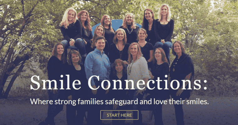 The beautiful team photo of Smile Connection's dental team on our new website!