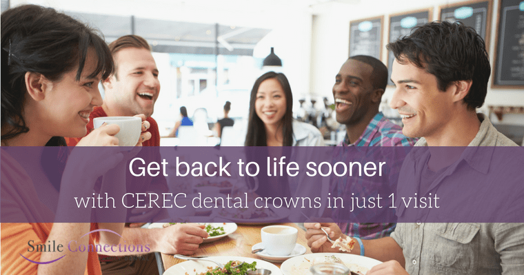 With CEREC single-visit crowns, you can get back to living, laughing, and eating pain-free