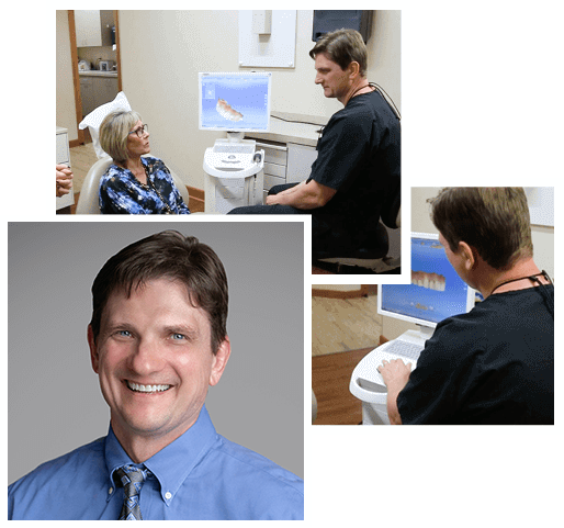Collage of Dr. James Volker, a Wichita dentist, enter acting with patients to show advanced and thorough care