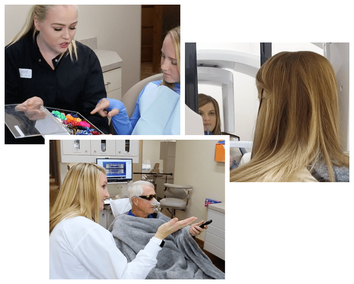 A collage of these dentist in Wichita, KS assisting new patients in their dental office