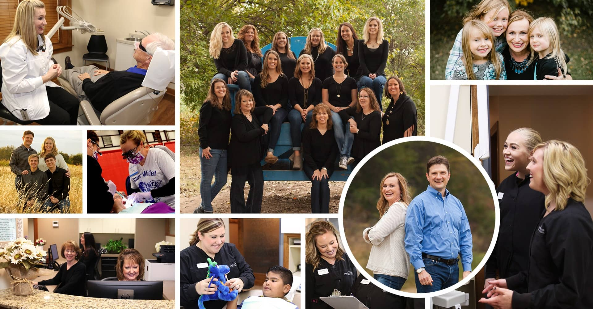 Collage of images of these dentists in Wichita, KS and their dental team and families of Smile Connections Family Dental.