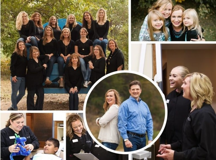 Photo collage of Dr. Volker, Dr. Meng and their dental team at Smile Connections Family Dental